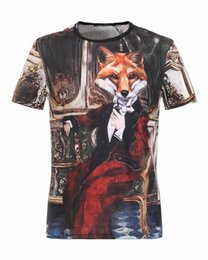 Wholesale Fox Clothing Men - 2017 New Fashion Brand Clothes Men's T-Shirt short Sleeve Mr. Fox printing Men Cotton Casual T Shirts tops M-3XL