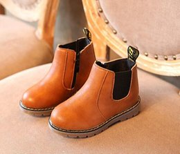 Wholesale Baby Dresses Shoes - Children fall baby boy Oxford shoes children's dress girls fashion Martin boots toddler PU leather boots black brown gray EU21-30