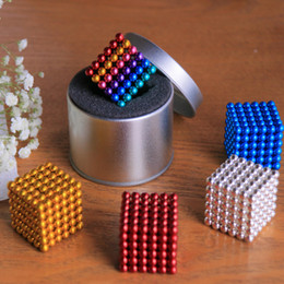 Wholesale Metal Cubes - Magic cubes 16 Colors Option 5mm 216 pcs Neo Cube Magic Puzzle Metaballs Magnetic Ball With Metal Box, Magnet Colorfull Magic Toys