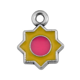 Wholesale Enamel Flower Charms For Diy - Zinc Alloy Silver Plated Metal Enamel Yellow and Pink Sun Flower Dangle Charms For DIY Jewelry Findings