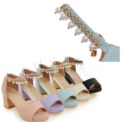 Wholesale Leopard High Heels Peep Toe - Hot Selling fish mouth thick with metal chain buckles Pearl diamond women sandals in good price free shipping