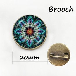 Wholesale Antique Bronze Lock Plate - Meditation Buddhist religion Mandala Brooch Antique bronze plated art picture Glass cabochon dome Pins For her,him