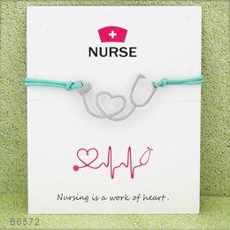 Wholesale Stethoscope Wholesale - Silver Tone Heart Stethoscope Nurse Charm Bracelets & Bangles for Women Girls Adjustable Friendship Statement Jewelry With Card