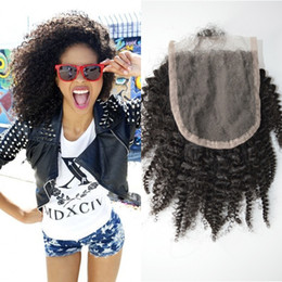 Virgin вьющиеся волосы закрытия 4x4 отбеленные узлы монгольский афро кудрявый кружева верхней закрытия С детские волосы G-легкие волосы продукты cheap mongolian kinky curly hair products от Поставщики монгольские кудрявые вьющиеся волосы