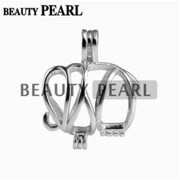 Wholesale Elephant Locket Pendant - 5 Pieces Animal Charm Cage Locket Wish Pearl Gift 925 Sterling Silver Jewelry Elephant Cage Pendant