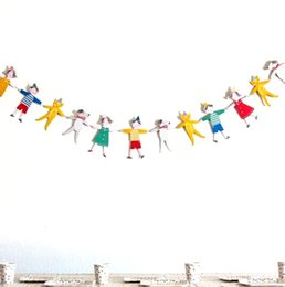 Wholesale Bunting String Flags - Wholesale-2.5m Cartoon Characters Dogs Cats Bunting String Flags Garland Space Decoration Wedding Festival Home Birthday Boy Girl Showers