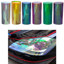Wholesale Change Orange Vinyl - 120cm X 30cm Car Headlight Film Stickers Light Shiny Chameleon Change Auto Tint Vinyl Wrap Sticker Car Accessories Covers