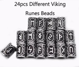 Wholesale Kits Necklaces - Wholesale- 24pcs Top Silver Norse Viking Runes Charms Beads Findings for Bracelets for Pendant Necklace for Beard or Hair Vikings Rune Kits