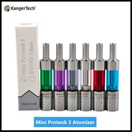 Wholesale Bottom Coils Kanger Pro - 100% Original Kanger Mini Protank 3 Clearomizer Mini Pro 3 Bottom Dual Coil Tank Kangertech Protank 3 Mini Atomizer With Dual Coil