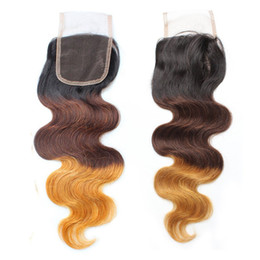 Wholesale Three Tone Ombre Hair - Three Tone Ombre Human Hair 4x4 Lace Closure T1b 4 27 T4 30 27 Body Wave Brazilian Virgin Remy Hair Extensions