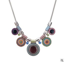 Wholesale Ms Wind - National wind ms alloy drip inlay diamond necklace Bohemia necklaces three colora can choose