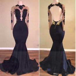 Wholesale Pageant Dresses Miss Size 16 - Sheer Scoop Gold Lace Formal Prom Dresses 2017 With Sexy Backless Arabic Dress Evening Wear Long Sleeves Mermaid Pageant Gowns Plus Size