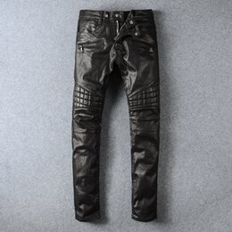 Wholesale Mens Classic Coats - Mens Brand Black Panel Coated Biker Jeans Classic Slim Pants Stretched Slim Fit Jeans Mens Pairs
