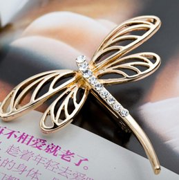 Wholesale Dragonfly Brooch Wholesale - Women Men Classic Dragonfly Brooch Exquisite Alloy Crystal Rhinestone Brooch Pin Wedding Party Vintage Scarf Clip New