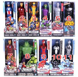 Wholesale Ironman Toys Avenger - Kids Toy Marvel Heros 30cm Wolverine Captain America Ironman Spider-Man The First Avenger PVC Action Figure Wholesale Cheap DHL Fast