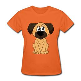 Cane arancione t-shirt online-T-shirt arancione vivace per ragazze stampa spot cane magliette simpatiche cartoni animati magliette a maniche corte da donna in puro cotone