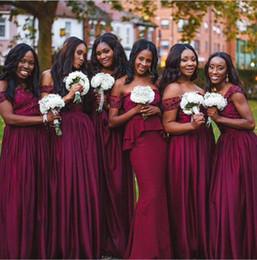 Wholesale Purple Bridesmaid Gown Plum - Dark Plum Beading Long Bridesmaid Dresses Popular Diverse Plus Size Off Shoulder A Line Plus Size Long Maid Of Honor Gowns