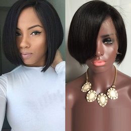 Wholesale Indian Hair Bangs - Brazilian human hair bob cut wigs short lace front wigs glueless full lace wig with bangs for black women
