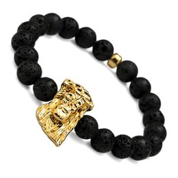 Wholesale Beads Jesus Bracelets - Volcanic Lava Rock Stone Beads Bracelet With Jesus Head Black Color Fashion Natura Hip Hop Jewelry Elastic Man Bracelets