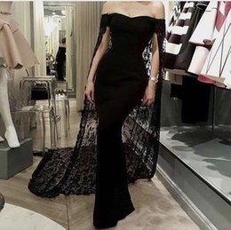 Wholesale Chiffon Floor Length Cape - Fashion Off the Shoulder Sweetheart Sleeveless Floor Length Black Chiffon Mermaid Prom Dresses with Lace Cape 2017