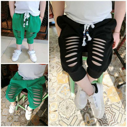 Wholesale Middle Child Clothing - 5pcs lot boys kids fashion pant summer middle length trousers cotton kids clothes children wear boys bc17114 black green