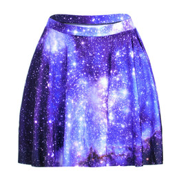 Wholesale Galaxy Printed Skirt - NEW 1188 Summer Sexy Girl Galaxy Blue Sky Star Printed Cheering Squad Tutu Skater Sport Women Mini Pleated Skirt Plus Size