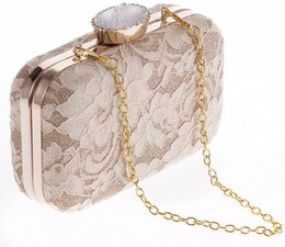 Wholesale New Lace Clutch Bag - Perfect!!! New Champagne Black White Lace Party Formal Clutch Bags Bridal Handbags Mini Fashion Lady Minaudiere Free Shipping CPA954
