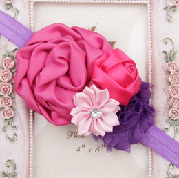 Wholesale Rose Bow Hair Band - Baby Hair Bows Girls Headwear Retail new fashion Hair Bands Lace mix Rose headbands Children Flower Hair Accessories YH562