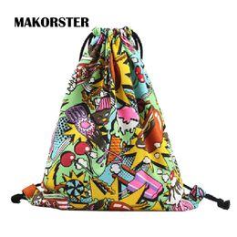 Wholesale Phone Carriers - Wholesale- MAKORSTER Cotton Fabric Fashion women feminine backpack Soft drawstring bag printing backpacks & carriers anime backpack DJ0117