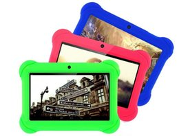 Wholesale Pink Laptops For Kids - Best gift for kids ! 8GB 7 inch Android4.4 A33 4 Core Tablet PC Laptop Children Touch Screen with free Silicone Case