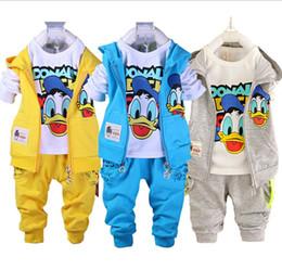 Wholesale Toddler Boys Vests - Kids Clothes Set Toddler Boys Clothing Baby Boys Cartoon Hello 2017 Vest Jacket T Shirt Pants Donald Duck Vetement Enfant