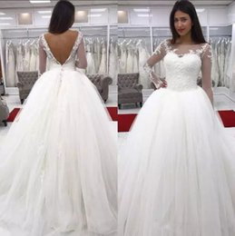 Wholesale Simple Elegant Cheap Ball Gowns - Elegant Wedding Dresses Cheap Lace Applique Sheer Neck Long Sleeves Formal Dresses Floor Length Custom Made Lace Ball Gown Wedding Dresses