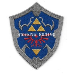 "Wholesale Wholesale Iron Princess Patches - 3.5"" Legend of Zelda Princess Hylian Shield patch Embroidered Movie TV Series applique iron on badge New Film"