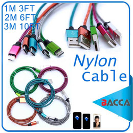 Wholesale S4 Charger Cable - 3FT 6FT 10FT Braided Copper Micro USB Charger Sync Data Cable Cord for samsung galaxy s4 s5 for all cellphone
