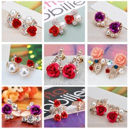 Wholesale Earring Variety - Wholesale - Korean version of the earring women flower earrings roses pearl earrings a variety of styles girl diamond earrings CA190