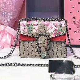 Wholesale Suede Shoulder Bags Woman - Dionysus suede bag women luxury brand blooms printing shoulder bags Genuine Leather handbags famous brand designer chain crossbody bag