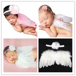 Wholesale Baby Costume Wings - 6styles Newborns Baby photo photography costumes 2pc set headband mini Feather Angel wings 30*19cm