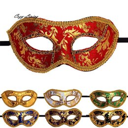 Wholesale Vintage Masquerade Ball Masks - Wholesale- Vintage Masquerade Masks 1 PC Venetian Masquerade Halloween Mask Fancy Elegent Retro Mask Half Face Party Ball Masks DEC 21TH