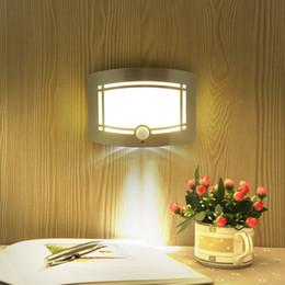 Wholesale Novelty Wall Lamps - Wireless Infrared Motion Sensor Wall LED Night Light Novelty Battery Powered Porch Night Lamp Motion Sensor Light For Home
