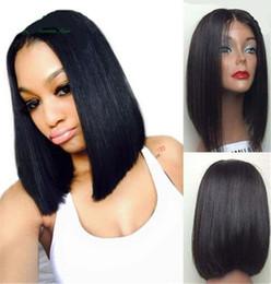 Wholesale Silk Top Bob Lace Wig - 7A Brazilian Virgin Hair Silk Top Glueless Full Lace Human Hair Wigs Short Bob Straight Lace Front Human Hair Wig