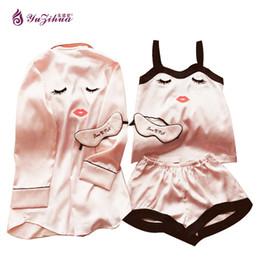 Wholesale Full Pics - Yuzihua Lovely Silk Robe Sexy Peignoir Women's Robes Bathrobes Women's Pajamas Roupao Mulher Chemise De Nuit Sexy Lingerie 4 pic Sleepwear