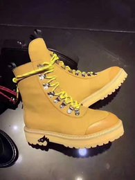 Wholesale Green Woman Cloth Spring - Off white Hiking Boots 2017 Winter Women Fashion Boots 4 colors size 36-40 us leather suedue Virgil Abloh Cordura Boot