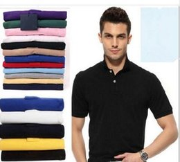 Wholesale Yellow Top Cartoon - Top sale S~6XL Man's Solid Polo Shirts Camisa Polo embroidery small Horse Polo Shirts man polyester Men Short Sleeve Casual Shirts