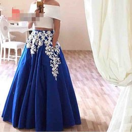 Wholesale Lavender Satin Robes - Cheap Robe De Soiree Two Piece Prom Dresses Pockets Short Sleeves Off Shoulder Arabic Evening Dresses Elegant Royal Blue Party Gown