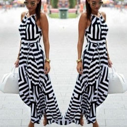 Wholesale Long Asymmetrical Stripe Dresses - Wholesale free shipping Summer Women Beach Maxi Dress 2017 New Black and White Geometric Stripe Print Loose Halter Long Dress Female