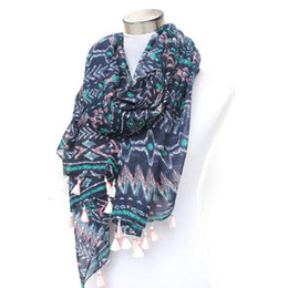 Wholesale Tribal Tassels Wholesale - Wholesale-blue multi tribal boho aztec geometric scarf with white tassels wholesale price