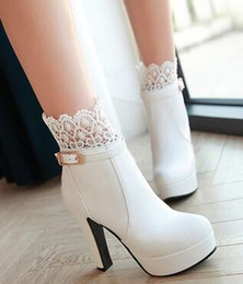 Wholesale Pure Trims - Wholesale New Arrival Hot Sale Specials Super Influx Warm Noble Winter Martin Leather Tide Trim Lace Platform Ultra-High Ankle Boots EU34-43