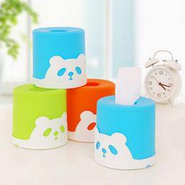 Wholesale Desktop Cute Box - Wholesale- Colorful cute panda tissue pumping cylinder desktop tissue box pumping tray tissue box cover car accessories holder