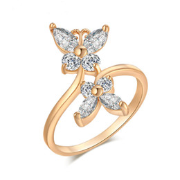 Wholesale Yellow Gold Engagement Ring 18k - Cute 18K Yellow Gold Plated Double Butterflies Cubic Zirconia Engagement Ring for Women Girls 5.25 6.5 7.75 9 Size Fashion Jewelry