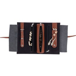 Wholesale Jewelry Roll Bag Zippers - Wholesale- PU Leather Jewelry Bags Brown Black Jewelry Pouches Travel Accessories Jewelry Roll Mini Make Up Bag High Quality